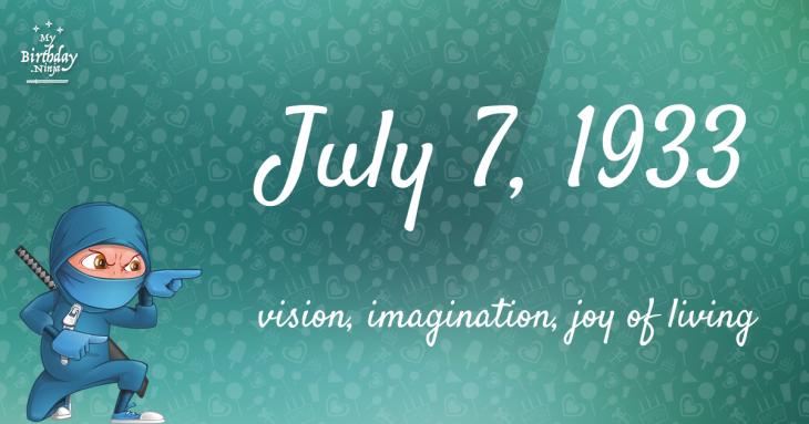 July 7, 1933 Birthday Ninja