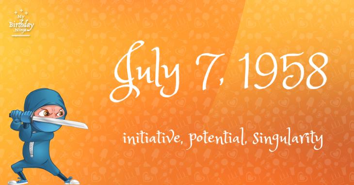 July 7, 1958 Birthday Ninja