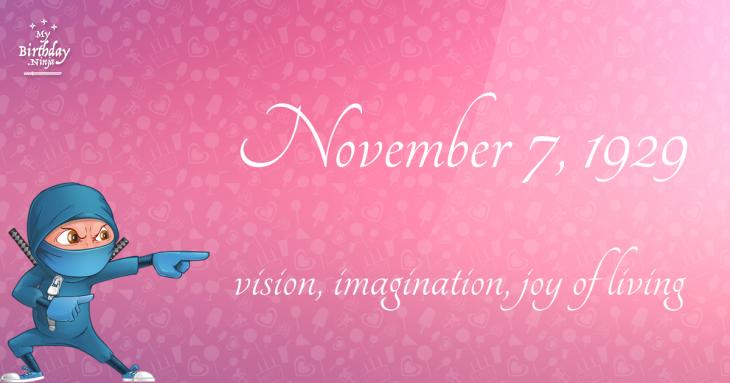 November 7, 1929 Birthday Ninja