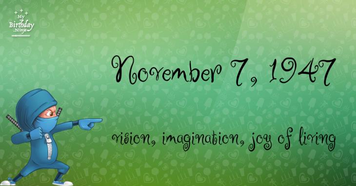 November 7, 1947 Birthday Ninja
