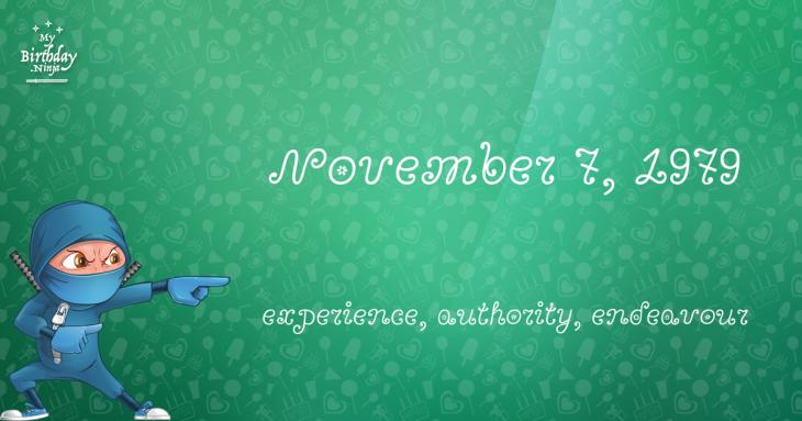 November 7, 1979 Birthday Ninja
