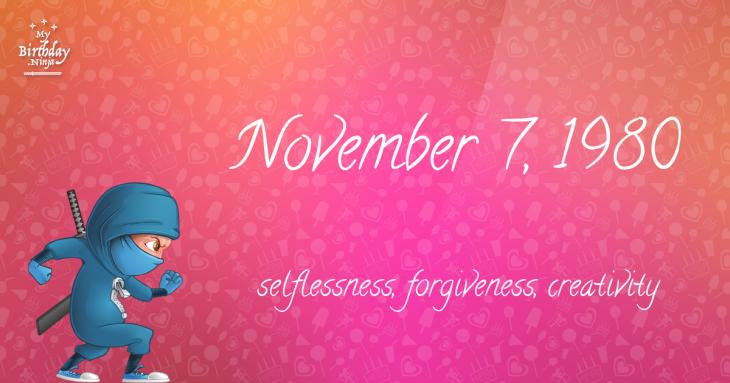 November 7, 1980 Birthday Ninja