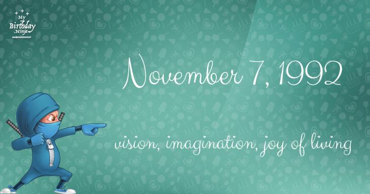 November 7, 1992 Birthday Ninja