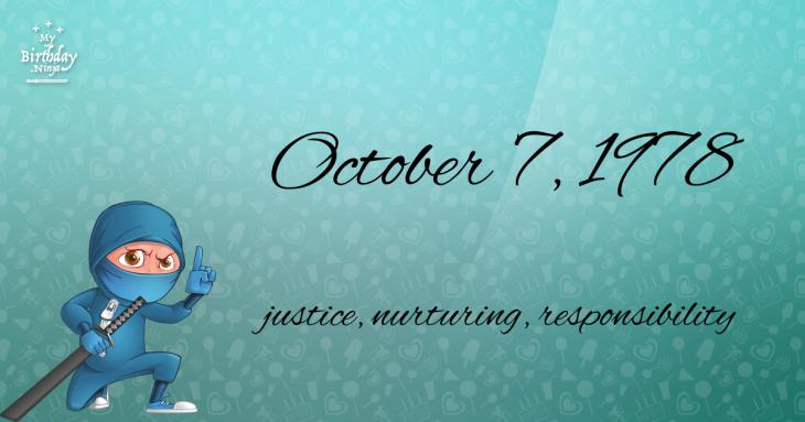 October 7, 1978 Birthday Ninja