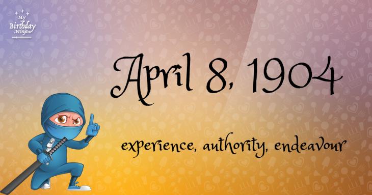 April 8, 1904 Birthday Ninja