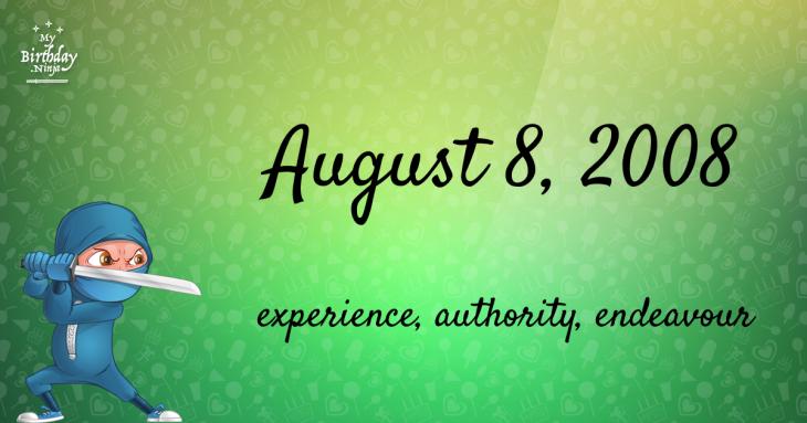 August 8, 2008 Birthday Ninja