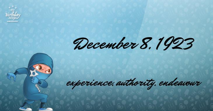 December 8, 1923 Birthday Ninja