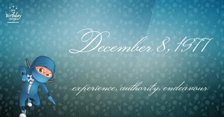 December 8, 1977 Birthday Ninja