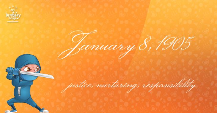 January 8, 1905 Birthday Ninja
