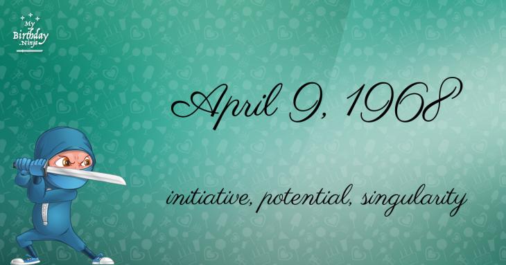 April 9, 1968 Birthday Ninja