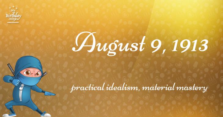 August 9, 1913 Birthday Ninja
