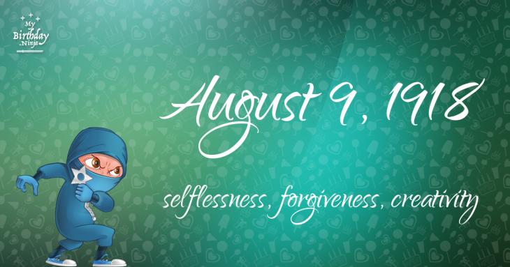 August 9, 1918 Birthday Ninja
