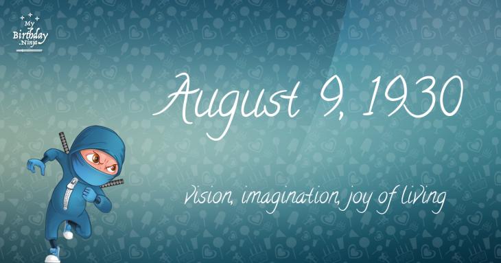 August 9, 1930 Birthday Ninja