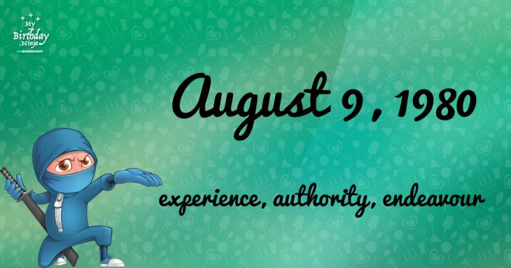 August 9, 1980 Birthday Ninja