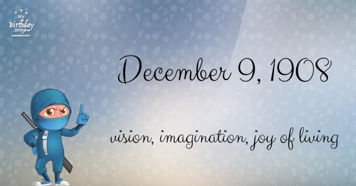 December 9, 1908 Birthday Ninja