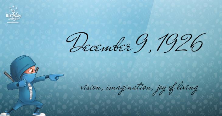 December 9, 1926 Birthday Ninja