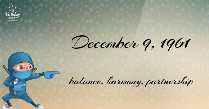 December 9, 1961 Birthday Ninja