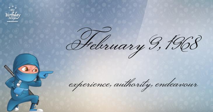 February 9, 1968 Birthday Ninja