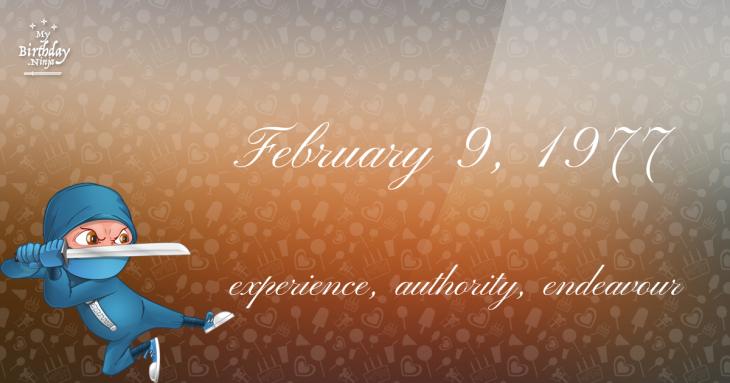February 9, 1977 Birthday Ninja