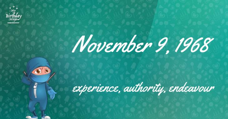 November 9, 1968 Birthday Ninja