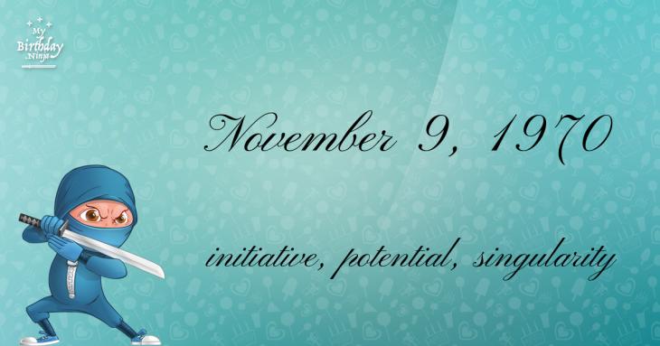 November 9, 1970 Birthday Ninja