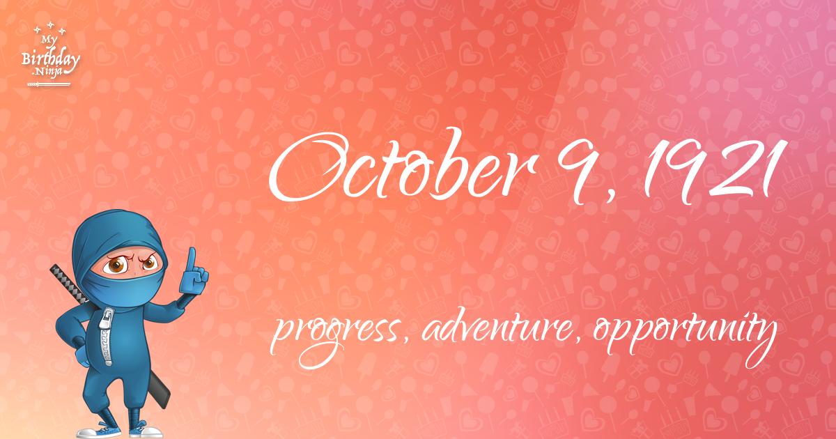 October 9, 1921 Birthday Ninja Poster