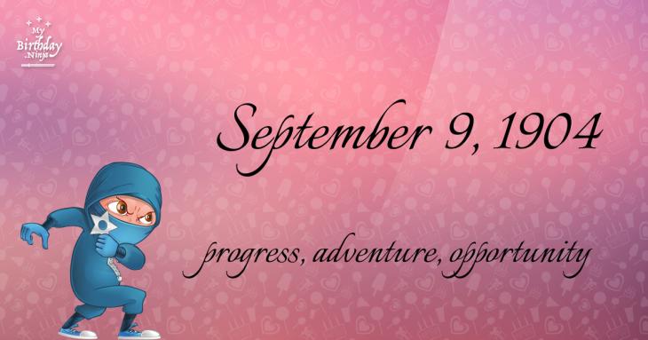 September 9, 1904 Birthday Ninja
