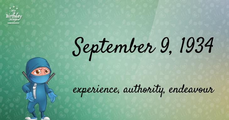 September 9, 1934 Birthday Ninja