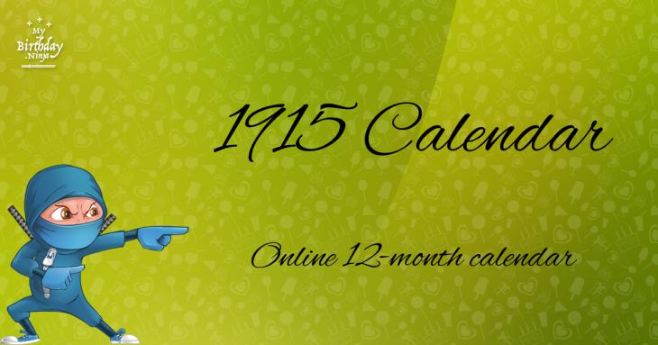 1915 Calendar